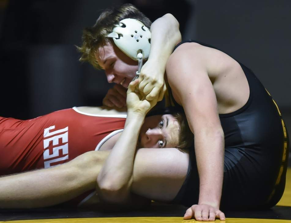 Junior Adam Hendrick and the Hand wrestling team are aiming to contend for a conference title after traversing through a schedule filled with top-notch SCC foes this year  Photo by Kelley Fryer/The Source