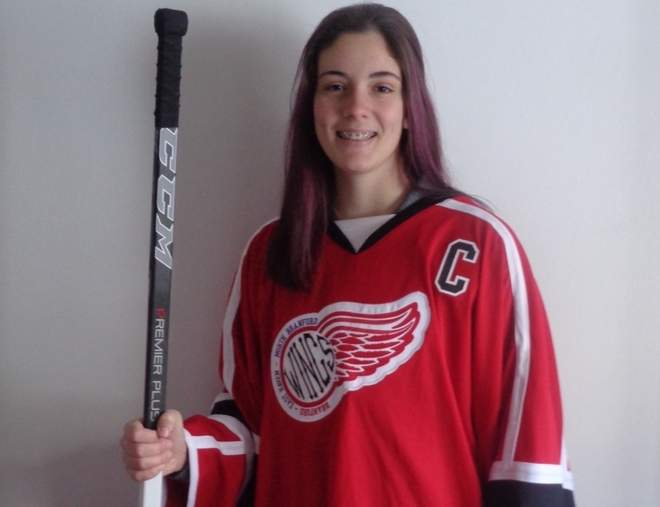 Julia SanGiovanni, a junior at East Haven High School, has been the starting goalie for the Branford-East Haven-North Branford girls' ice hockey squad since her freshman year.  Photo courtesy of Julia SanGiovanni