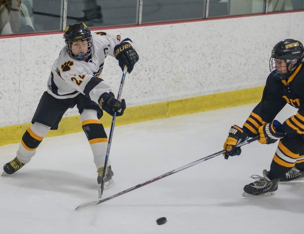 Senior captain Tristan Sorensen and the Hand boys' ice hockey squad have gotten out to a 2-5 start this winter, but feature a young team that's eager to grow throughout the campaign.  Photo by Kelley Fryer/The Source