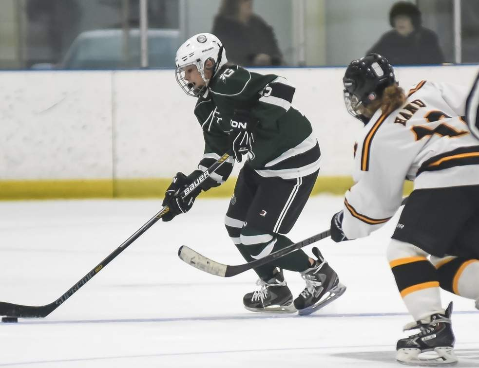 Junior alternate captain Hannah Plaziak and the Guilford girls' ice hockey team are focused on challenging their opponents for all three periods this season.  Photo by Kelley Fryer/The Courier