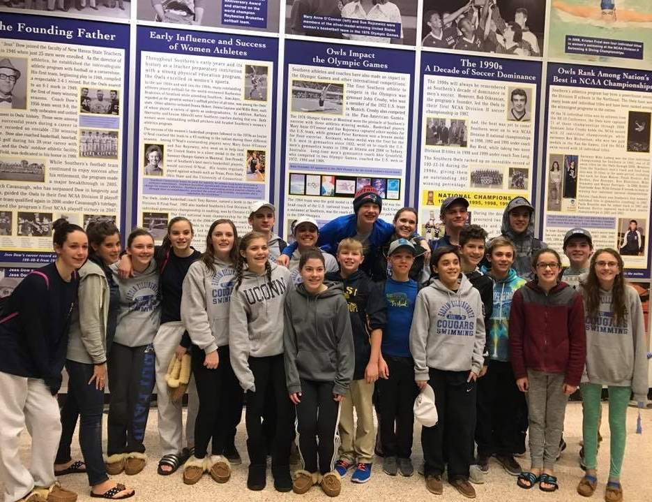 The Haddam-Killingworth Middle School swimming team finished third in the overall standings at the Connecticut Middle School Swimming and Diving Open Championship that took place at Southern Connecticut State University on Jan. 29. Photo courtesy of Samantha Sierpinski