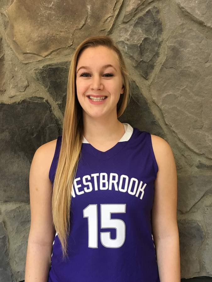 Senior captain Adara Bochanis is producing in a variety of ways with Westbrook girls' hoops this winter. Bochnais is averaging 7.0 points, 9.6 rebounds, 1.7 assists, and 2.6 blocks per game for the Knights, who recently qualified for postseason play.  Photo courtesy of Adara Bochanis