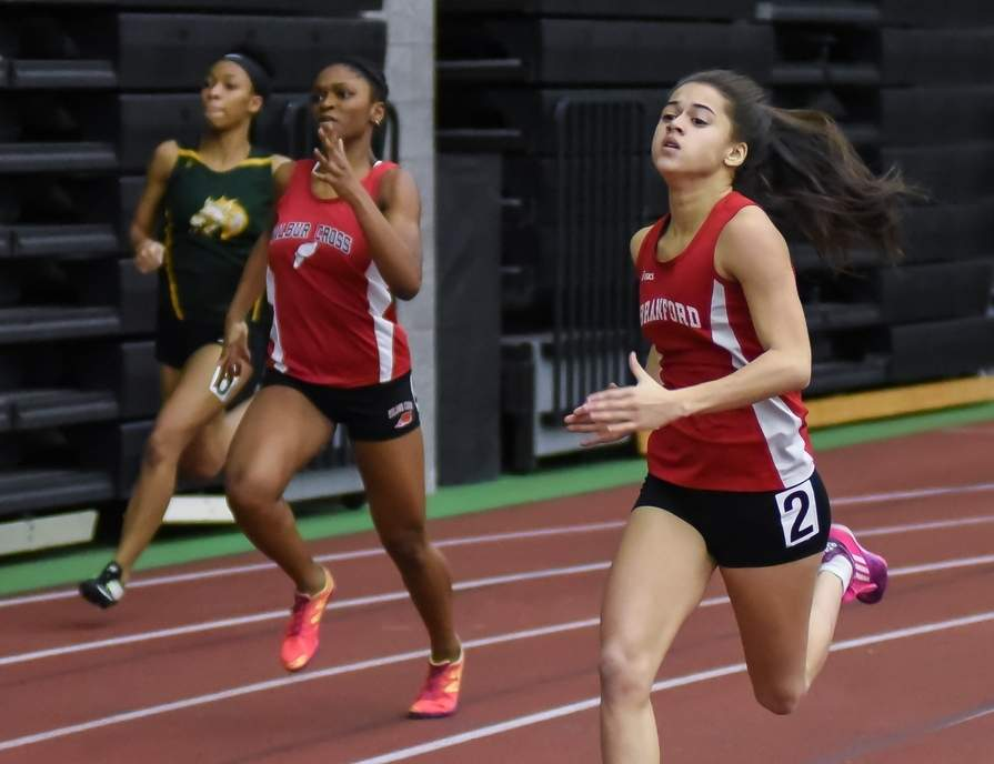 Branford sophomore Liante Claude took second place in the 600 with time of 1:42.30 at the SCC Championship, breaking her own school record in the event by less than half a second. Photo by Kelley Fryer/The Sound