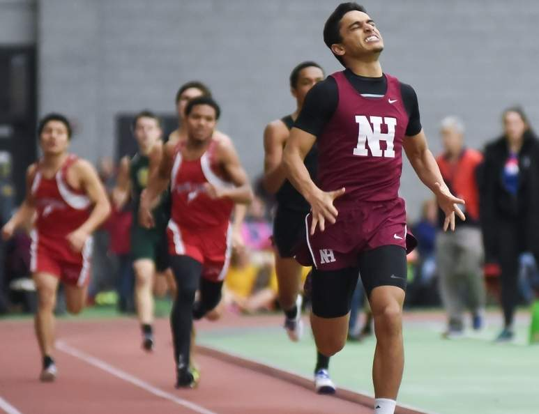 Senior Omar Gebril took second place in the 600-meter run by recording a time of 1:22.94 for North Haven at the SCC Championship on Feb. 3. Gebril's time was three seconds faster than in his win at the SCC West Sectional Championship the previous week. Photo by Kelley Fryer/The Courier