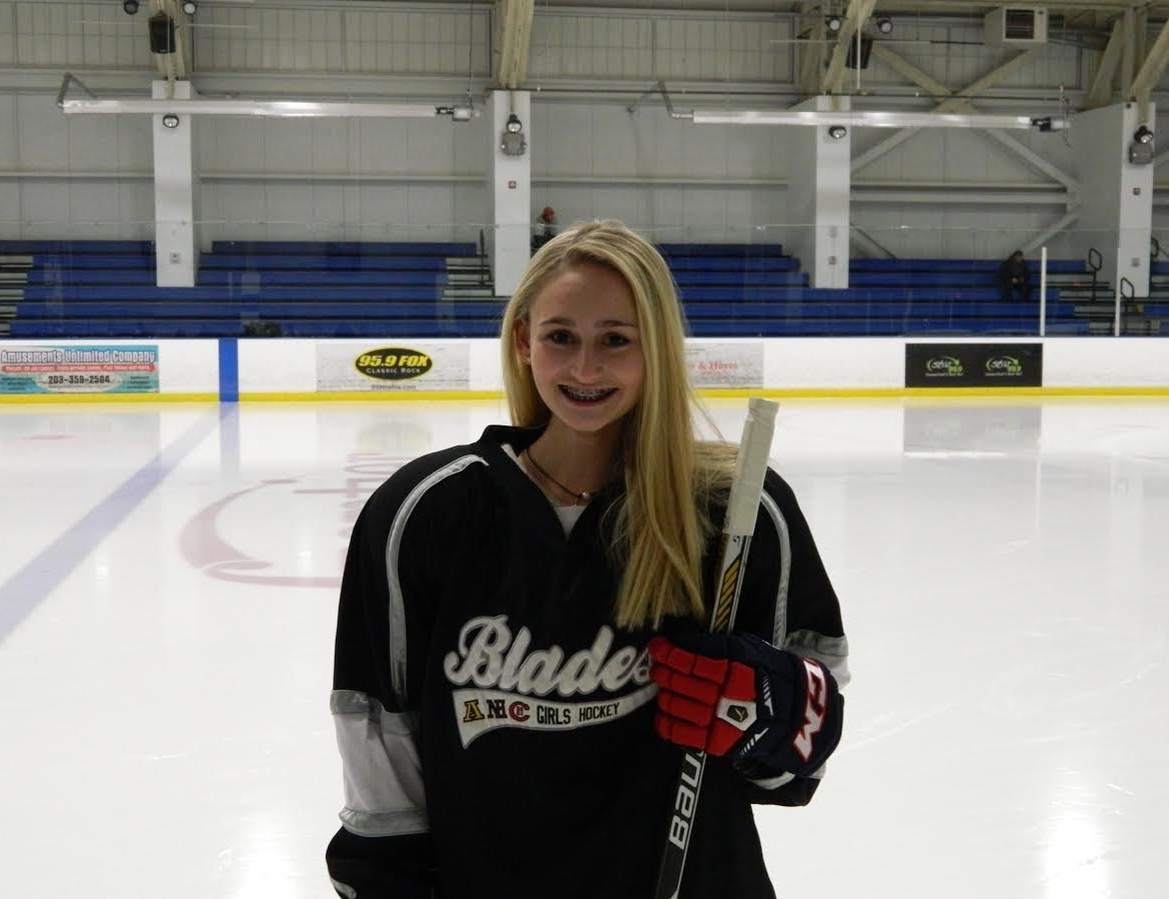 Jackie Howlett is making an impact on all ends of the ice for the Blades this winter. Jackie is one of the team's top defensemen, but she's also tied for second in points scored on the squad. Photo courtesy of Jackie Howlett