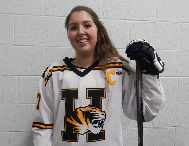 Senior captain forward Haley Rodham has scored five goals while helping the Hand girls' ice hockey squad eclipse last year's win total this winter. Photo courtesy of Haley Rodham