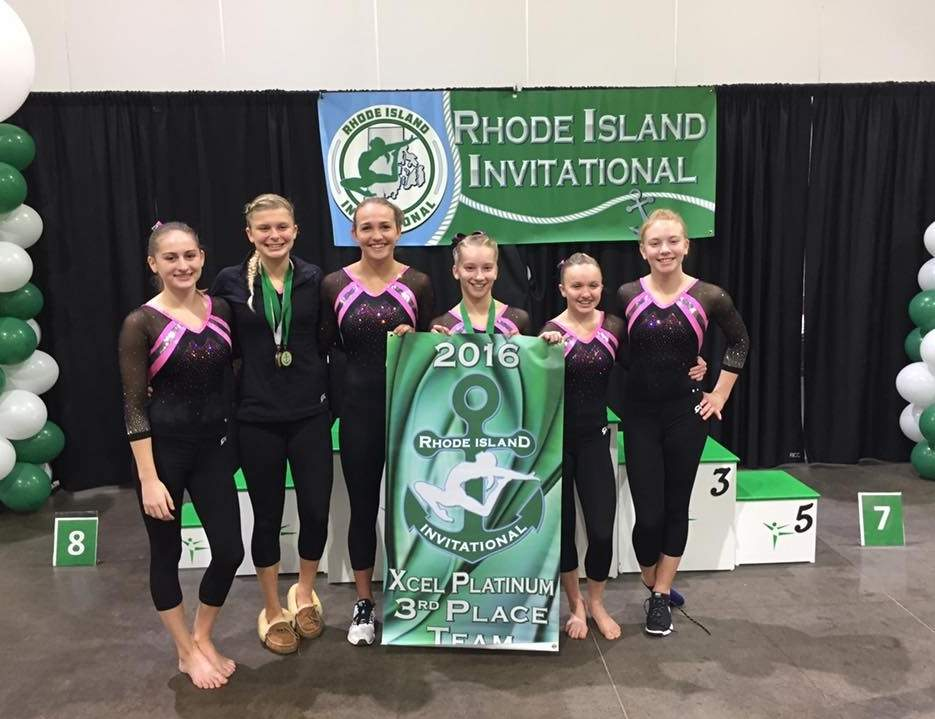 Pictured from the Xcel Platinum gymnastics team are Emily Brucker (Deep River), Sarah Cartelli (Ivoryton), Katie Schumann (Old Saybrook), Brooklyn Geida (Niantic), Emma Pfau (Guilford), and Emma Anderson (Higganum). Photo courtesy of Hannah Schmelzer