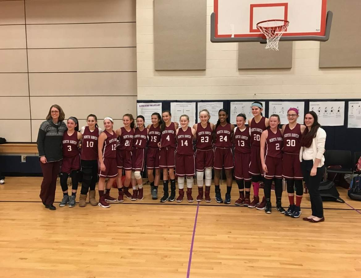 Pictured from the North Haven Middle School girls' basketball squad are Head Coach Allison McMahon, Sophie Barra, Talia Annunziato, Alexandria Vollero, Juliana DeAngelo, Katie Myjak, Olivia Stefanik, Sarah Puzone, Carly Fresher, Julia Bogen, Eveani Okwuosa, Sydney Incarnato, Jenna Kompare, Olivia Johnson, Emily Konopka, and assistant coach Alena Breton. Missing from the photos are Laura Page and Elizabeth Carchia. Information courtesy of Andrea Stefanik