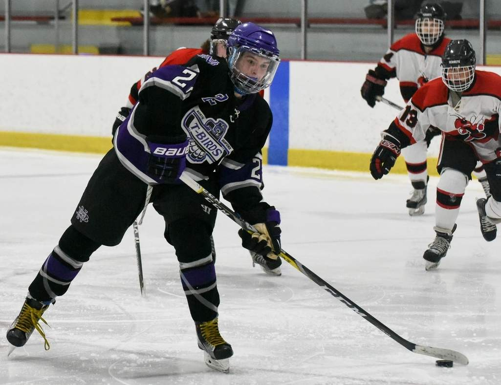 Brian McKee's two goals pushed the North Branford boys' ice hockey team past East Catholic and into the Division II State Tournament. Photo by Wesley Bunnell/The Sound