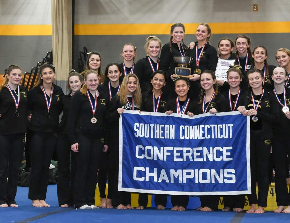 The Hand gymnastics squad posted its best score of the season with a 137.15 to earn its ninth straight conference title at the SCC Championship at Jonathan Law High School on Feb. 11. Photo by Wesley Bunnell/The Source