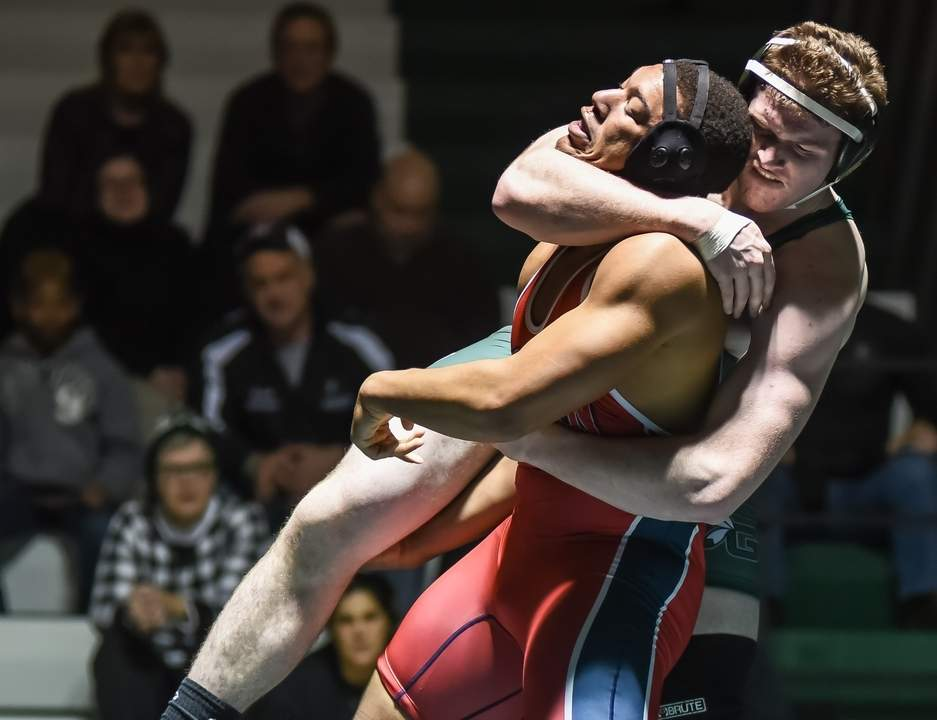 Jack Six claimed the SCC title in the 220-pound weight class to help Guilford wrestling finish a strong second at the SCC Championship on Feb. 11. Photo by Kelley Fryer/The Courier