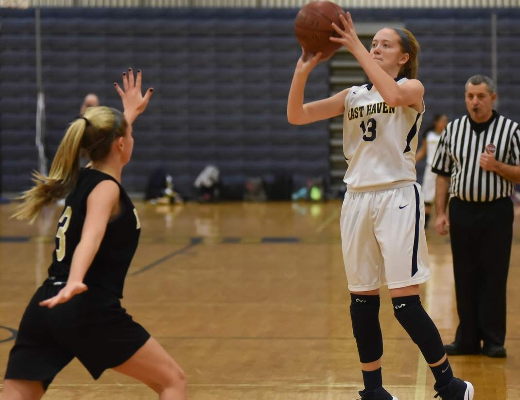 Junior Marley Herard and the East Haven girls' basketball team are 15-4 overall and recently clinched the SCC Quinnipiac Division title by going 7-1 in divisional play this winter. Photo by Kelley Fryer/The Courier