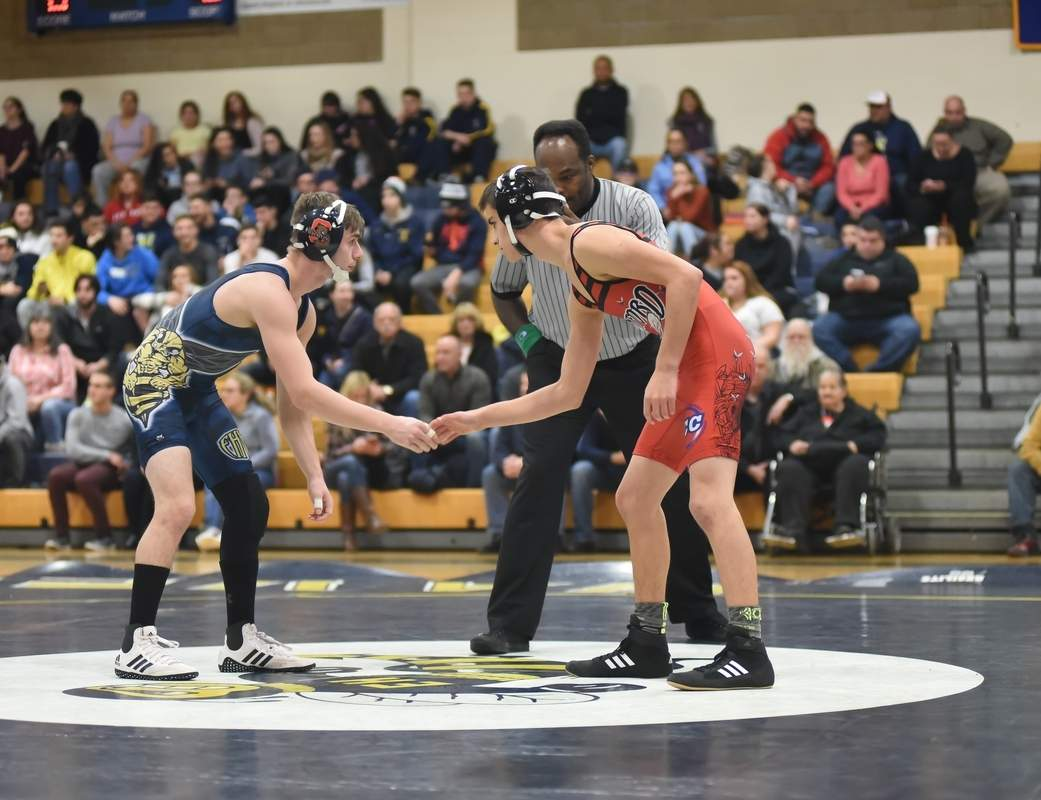Antonio Lieto claimed the SCC title in the 120-pound division by winning all three of his matches by decision at the Conference Championship meet. Photo by Kelley Fryer/The Courier