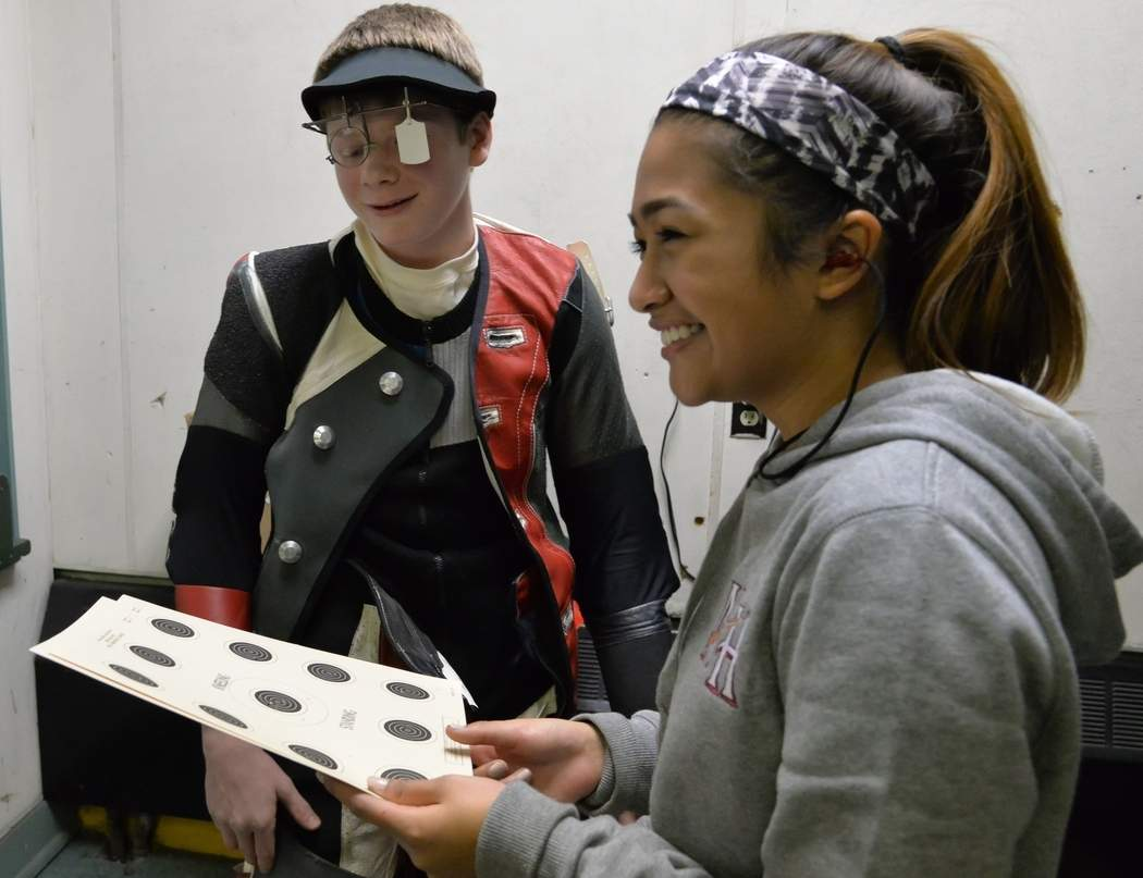 Harrison Callahan (left) and Michaela Felipe are leading the North Haven rifle team as its junior captains this winter and they're also the top two scorers on the squad. North Haven recently qualified for the State Championship meet that takes place this week. Photo by Kelley Fryer/The Courier