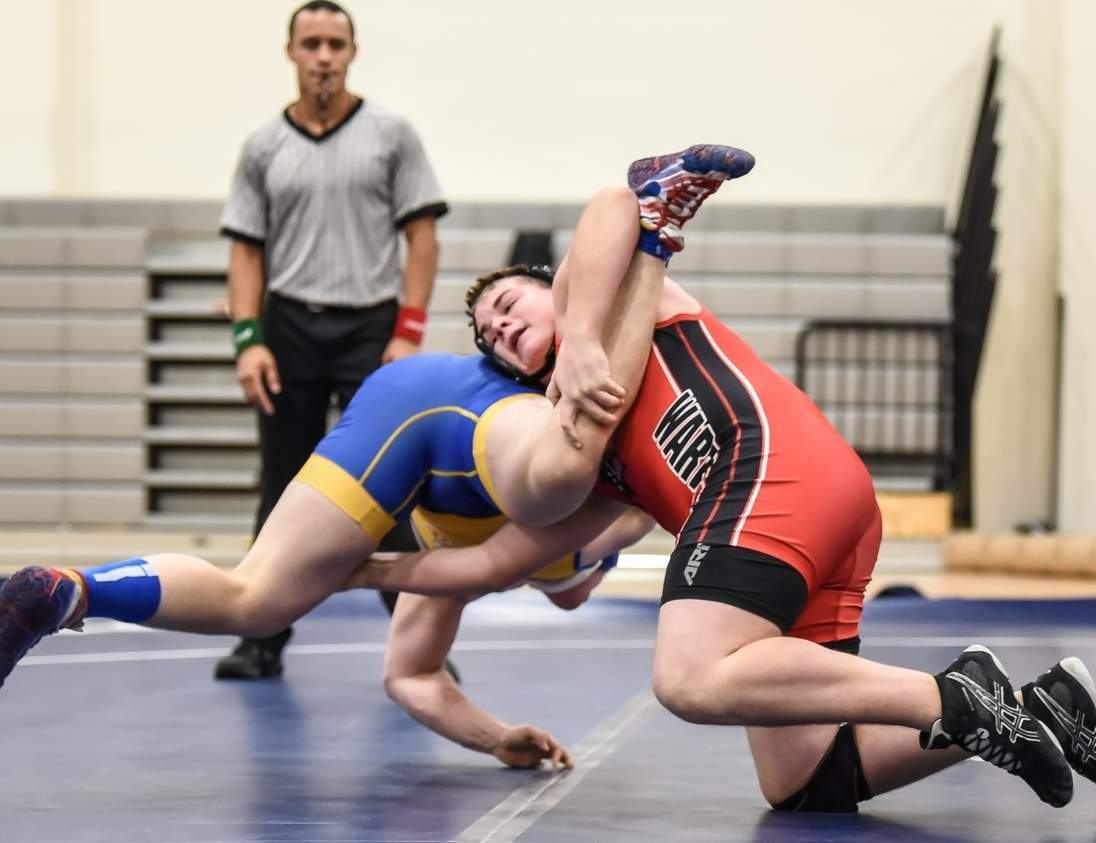 Ben Falivene capped his sophomore campaign on the wrestling mat by claiming two victories for Valley Regional at the Class S State Championship at Windham High School last weekend. Falivene went 12-10 on the campaign. Photo by Kelley Fryer/The Courier