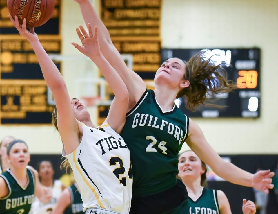 Amanda King and Guilford girls' hoops posted a 60-53 win over Amity in the SCC Tournament first round before winning 58-40 against Career in the quarterfinals. Photo by Kelley Fryer/The Courier
