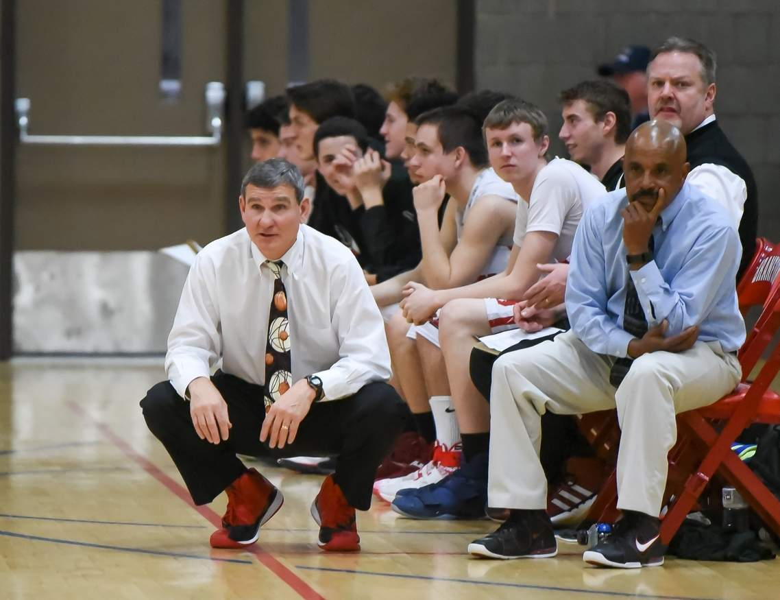 Last week, Jake Palluzzi announced that his 29th season as head coach of Branford boys' hoops will be his last. Palluzzi will get to coach the Hornets for a few more games because they clinched bids in the SCC and Class L State tournaments by beating rival East Haven on Feb. 13. Photo by Kelley Fryer/The Sound