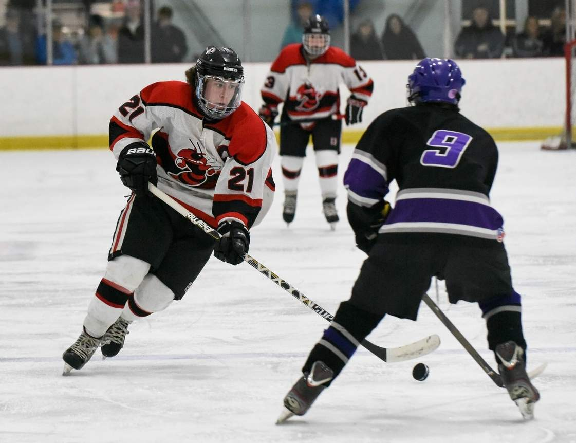 Scott Klouda and the Hornets' boys' ice hockey team sealed their spot in the Division II State Tournament by blanking Masuk 4-0 on Feb. 17. Photo by Wesley Bunnell/The Sound