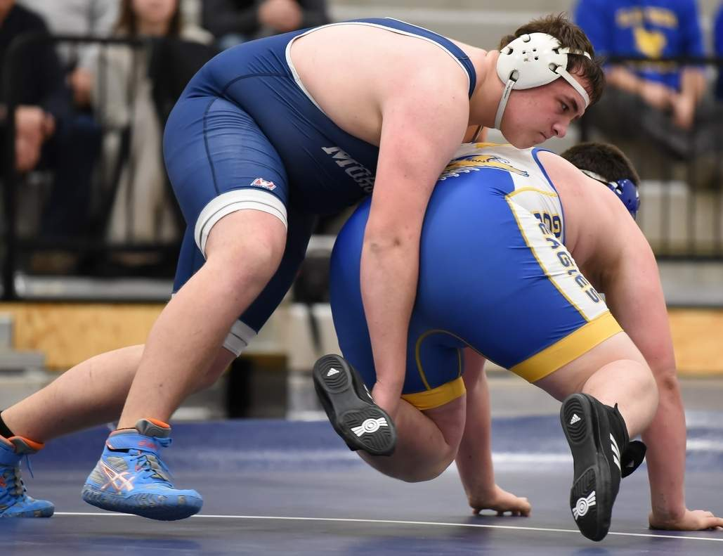 Junior Austin Daley claimed second place in the 285-pound weight class to help the Morgan wrestling squad take ninth place at the Class S State Championship. Photo by Kelley Fryer/Harbor News