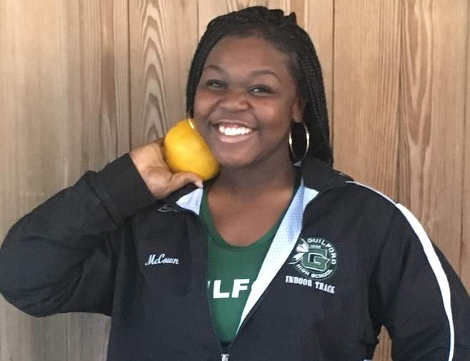 Sophomore Jalynn McCown was recently crowned a state champion in the shot put for the Guilford girls' indoor track squad. Jalynn launched a personal-best toss of 36 feet-7.25 inches to win the Class L title on Feb. 11. Photo courtesy of Jalynn McCown