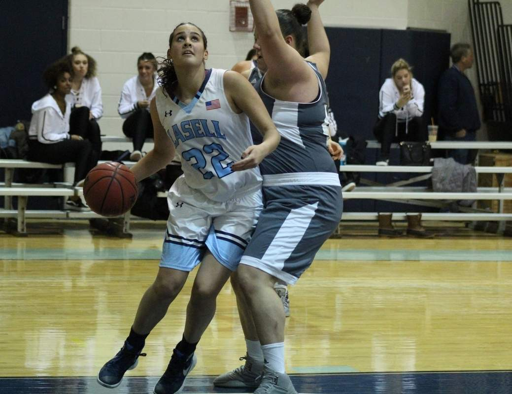 Yellowjackets' girls' hoops alum Dana Rosse was recently named the Great Northeast Athletic Conference's Rookie of the Week for recording 30 points with 32 rebounds in a three-game span. Photo courtesy of Lasell Athletics