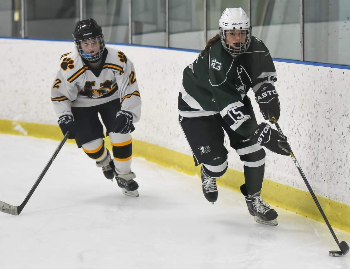 Hannah Plaziak and the Guilford girls' ice hockey squad grabbed their first win of the year by a 3-2 final against Lauralton Hall in the Indians' season finale. Photo by Kelley Fryer/The Courier