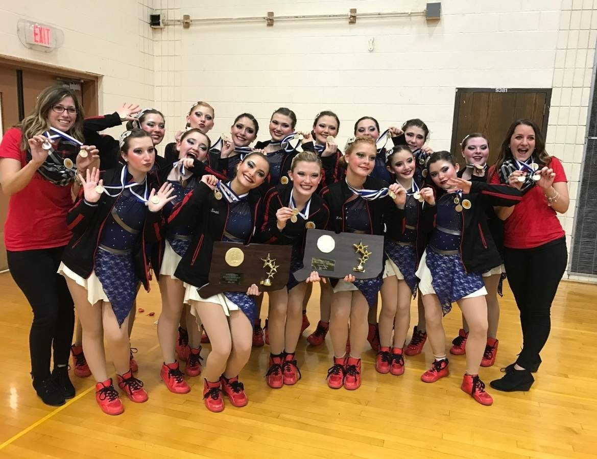 The Branford dance team claimed its third straight state title for both hip-hip and jazz at the State Championship at Shelton High School on Feb. 25. Pictured are (front row) Hannah Antonino, Bella Petrosino, Sophia Smith, Lauren Driscoll, Hailey LaBonte, Samantha Esposito, and Lily Milici; (back row) Coach Jacqui Montano, Chloe Lourenco-Lang, Rachel LaBonte, Jenna Juliano, Casey Allen, Olivia Vitale, Johnna Palmese, Juliana Robinson, Melissa Brennan, and Coach Megan Palluzzi. Photo by Kelley Fryer/The Sound