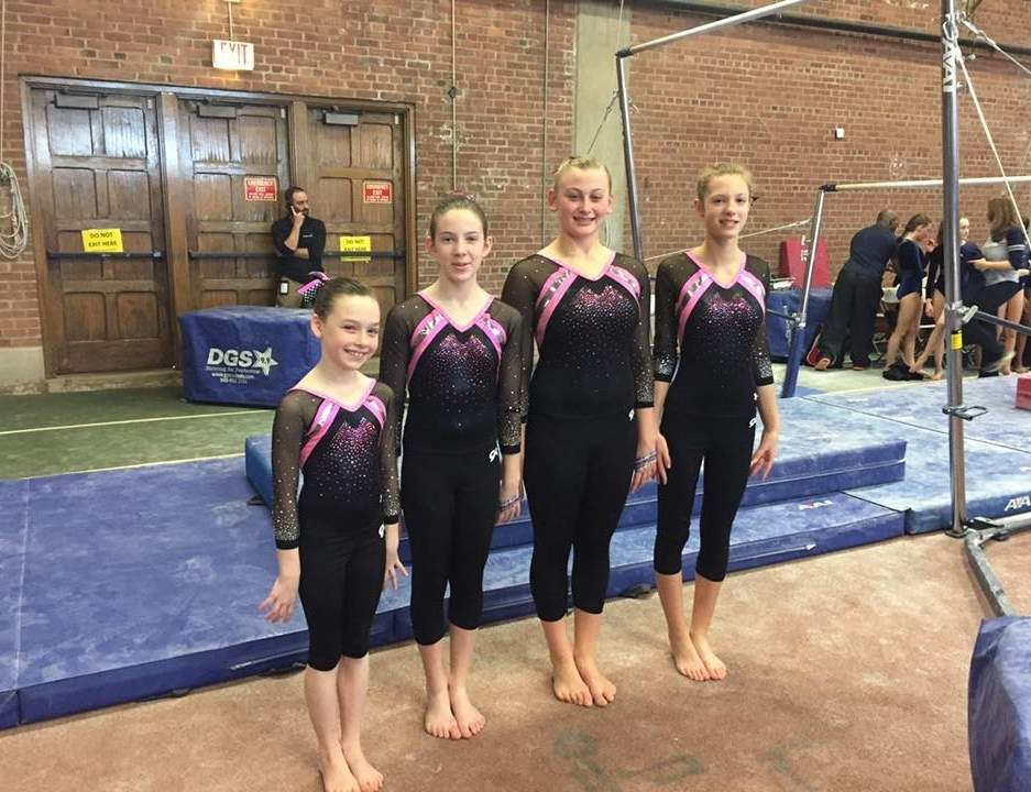 Pictured is the Level 4 team from Flip-Flop Gymnastics: Corina Pagliuco (Ivoryton), Julie Hartt (Deep River), Chase Conrad (Ivoryton), and Violet Lavezzoli (Deep River). Photo courtesy of Hannah Schmelzer