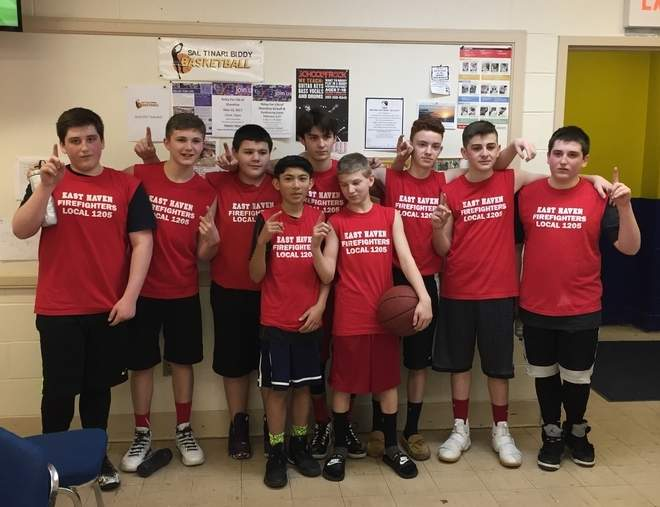 Pictured from the East Haven Firefighters Local 1205 8th-grade boys' basketball team are (front row) Michael Capozzo and Christopher Bagnoli; along with (back row) Robby Cofrancesco, Tyler Vance, James Hicks, Antonio Barnabei, Scott Arpino, Shea Carusone, and Anthony Cofrancesco. Missing from the photo is Joey Esposito. Photo courtesy of Carmella Cofrancesco