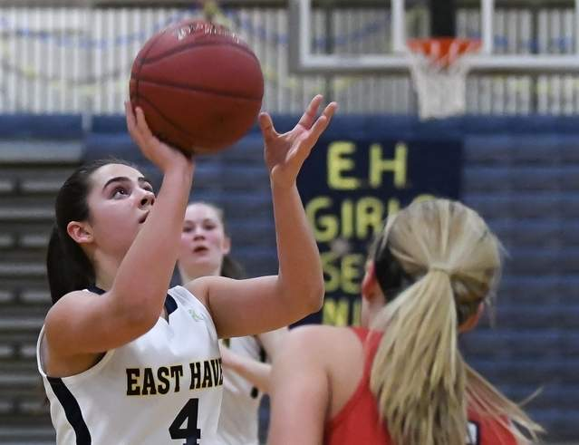 Freshman Isabella Ragaini recorded double digits in both of East Haven's Class M State Tournament victories last week. After defeating Wilcox Tech in the first round, the Yellowjackets saw their season come to an end with a second round loss to Waterford. Photo by Kelley Fryer/The Courier
