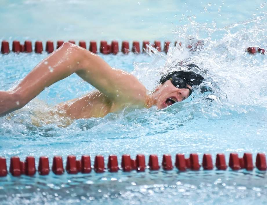 Sophomore Will McCleery swam a lifetime-best mark of 5:15.05 to finish in 19th place in the 500 freestyle for the Indians at the SCC Championship on March 1. Photo by Kelley Fryer/The Courier