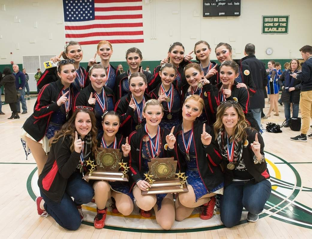 For the first time in program history, the Branford dance team claimed first place in both the Hip-Hop and Jazz divisions at the New England Championship on March 4. Pictured are (front row) Coach Megan Palluzzi, Sophia Smith, Lauren Driscoll, Hailey LaBonte, and Coach Jacqui Montano; (middle row) Hannah Antonino, Melissa Brennan, Johnna Palmese, Samantha Esposito, Bella Petrosino, and Lily Milici; (back row) Casey Allen, Rachel LaBonte, Juliana Robinson, Jenna Juliana, Olivia Vitale, and Chloe Lourenco-Lang. Photo courtesy of Bruce Pantani
