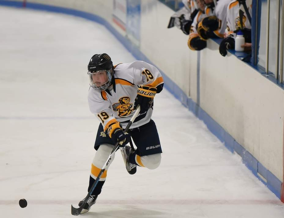 Chris Teto and the East Haven boys' ice hockey squad played a classic contest against Guilford in the SCC/SWC Division II Tournament final. Guilford scored 23 seconds into overtime to come away with the 3-2 victory at Bennett Rink on March 4. Photo by Kelley Fryer/The Courier