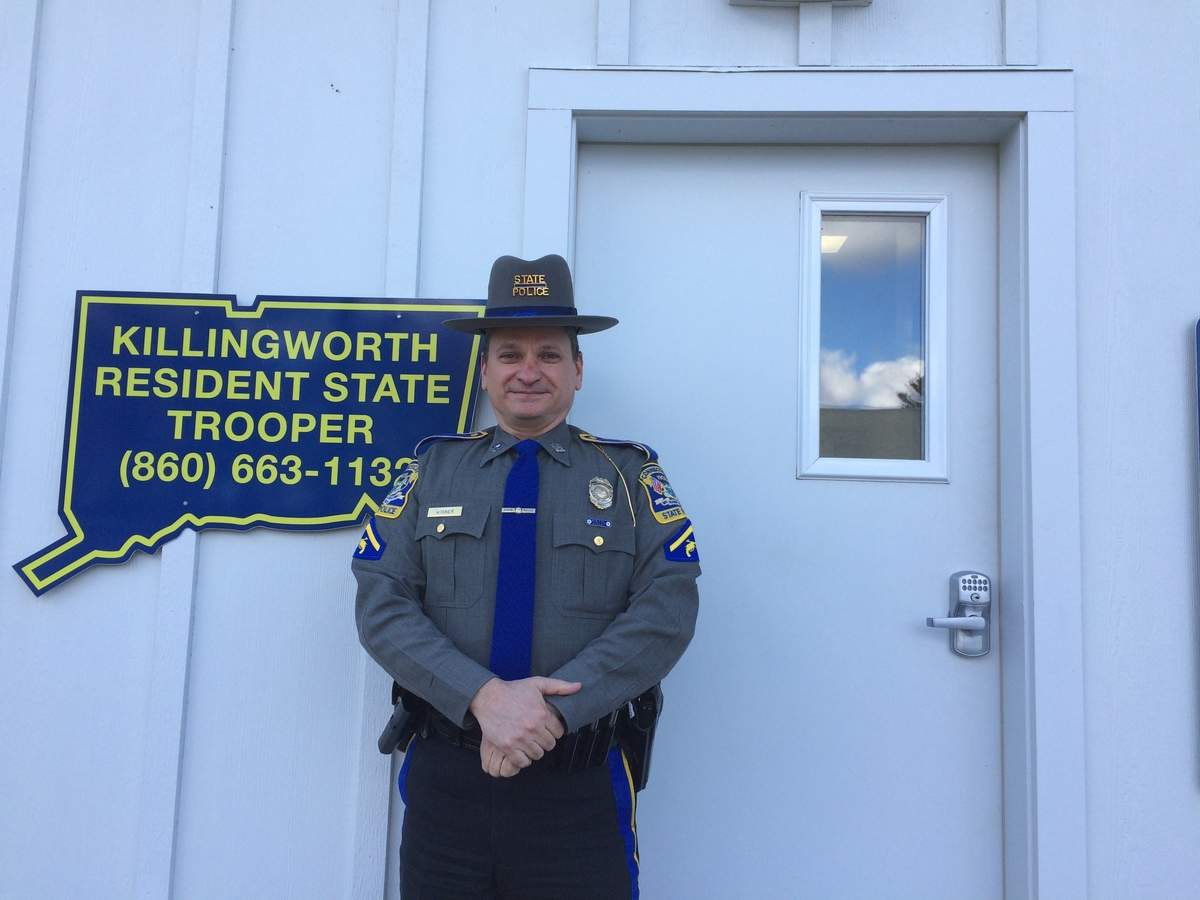 Killingworth's new resident state trooper is Connecticut State Police veteran Scott Wisner, who is bringing his combination of major crimes and small-town policing experience to the role vacated by retired trooper Matt Ward. Photo by Tom Conroy/The Source