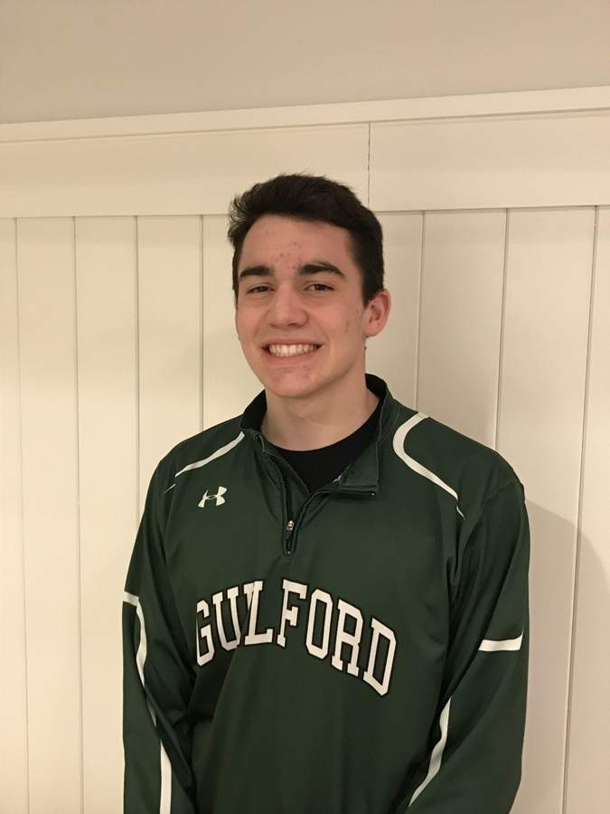 Junior power forward Sam Dombroski is averaging 10.2 points with 7.2 rebounds per game in his second year as a varsity starter for the Guilford boys' basketball team. Photo courtesy of Sam Dombroski