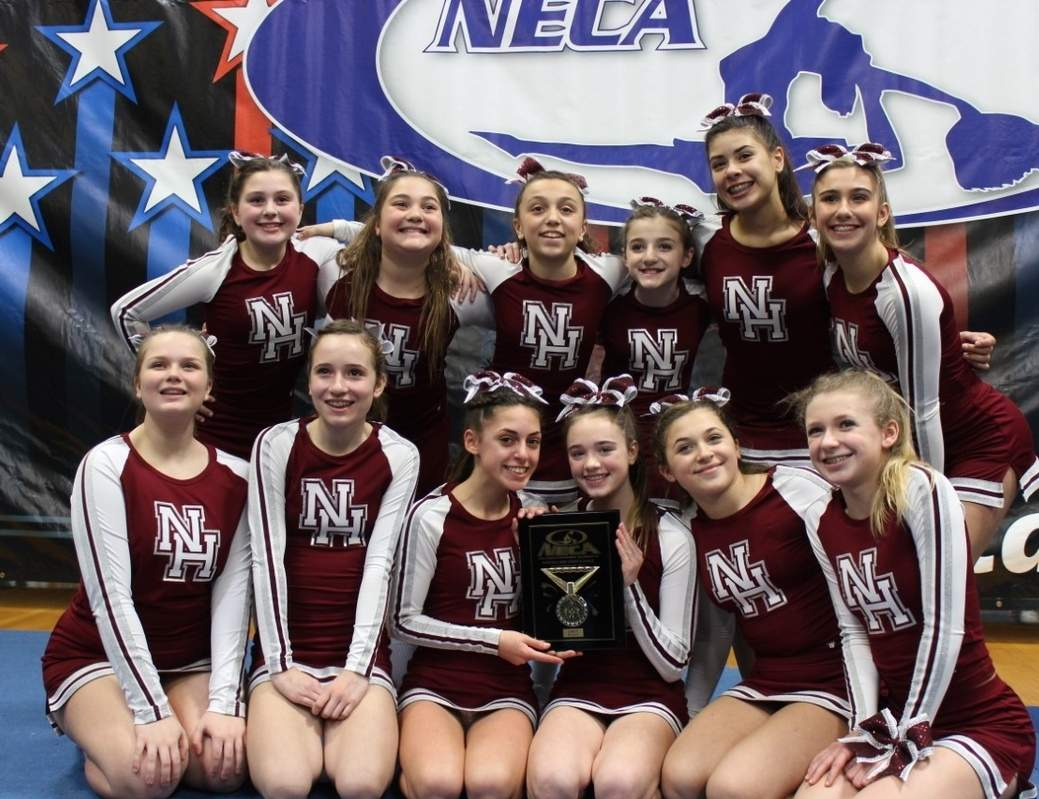 Pictured from the North Haven Middle School competition cheerleading squad are (back row) Kylie Signore, Lexy Coppola, Olivia Brangi, Maxine Samperi, Ariana Stewart, and Gianna D'Angelo; (front row) Kelsey Coppola, Taylor Quinn, Maddie LaDore, Gianna Mastroianni, Gracie Peruso, and Emily Orth. Missing from the photos is Jane Yi. Photo courtesy of Andrea Samperi