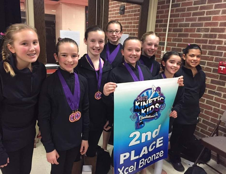 Pictured from Flip-Flop Gymnastics Xcel Bronze team are Gretchen Burgess (Lyme), Haylee Weglarz (Deep River), Charlotte Jacobson (Deep River), Halley Pierson (Westbrook), Christina Grace (Old Saybrook), Katherine Bergmann (East Haddam), Sienna Joplin (Chester), and Carlee Harwood (Killingworth). Photo courtesy of Hannah Schmelzer