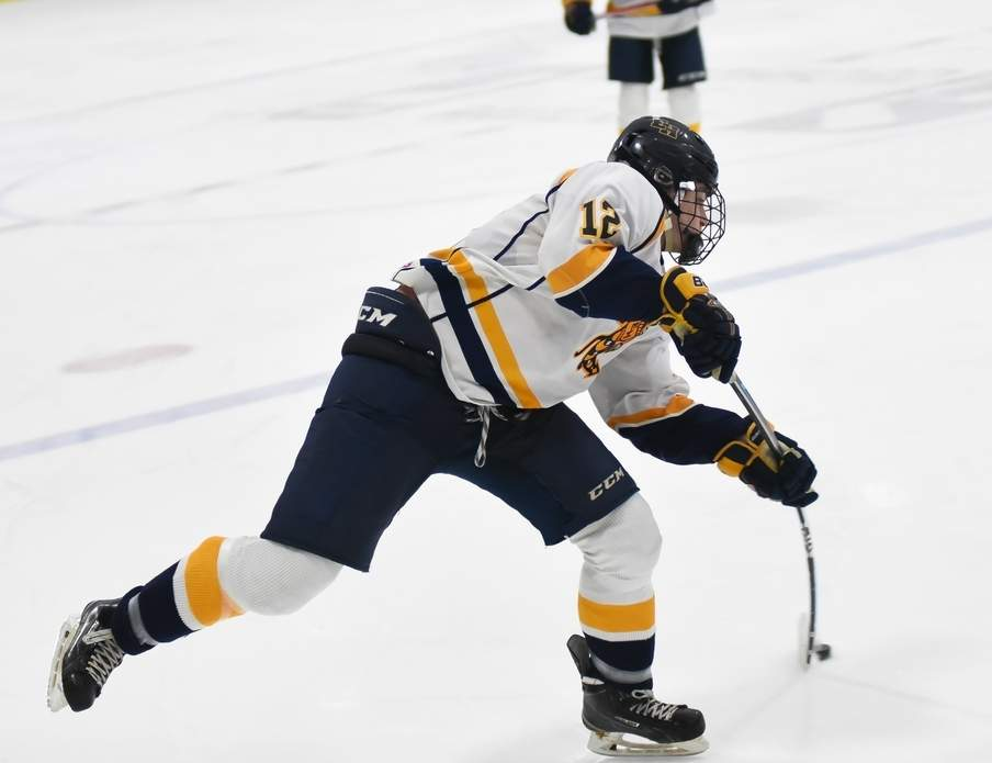 Senior Joe Aloi and the East Haven boys' ice hockey squad blanked Amity by a 8-0 final in the first round of the Division II State Tournament, but then saw their season come to a close with a 1-0 loss to South Windsor in the quarterfinals. Photo by Kelley Fryer/The Courier