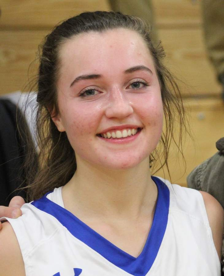 After joining the Old Saybrook girls' basketball squad as a junior last year, Kirsten King earned a starting spot with the Rams in her recent senior season.  Photo courtesy of Kirsten King