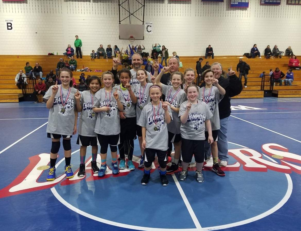 Pictured are the members of the Valley 5th-grade girls' basketball in athletes Ella Brenneman, Sharmel Rivera, Morgan Toth, Alice Jean-Pierre, Chloe Pocaro, Lily, Jones, Olivia Cunningham, Riley Soares, Cayden Johnson, and Audrey Counter; along coaches Doug Brenneman, Bob Jones and Ginny Willetts. Missing from the photo are players Emily Surber, Regan Grow, and Grace Lunz. Photo courtesy of Patrick Cunningham