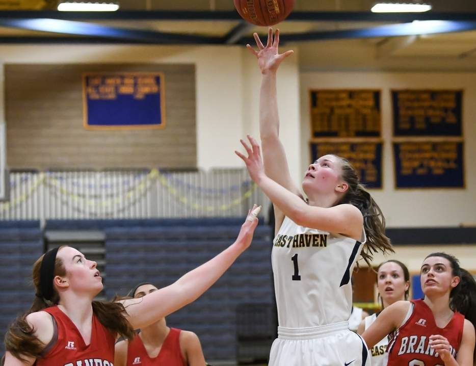 Junior Kylie Schlottman was named the SCC Player of the Year, eclipsed the 1,000-point mark for her career, and set the single-season scoring record for the East Haven girls' basketball team this winter. Photo by Kelley Fryer/The Courier