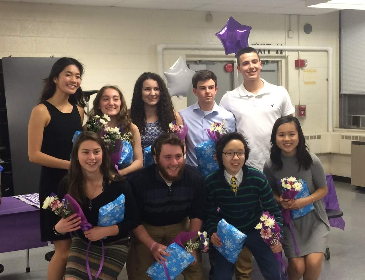 The outgoing seniors in the North Branford indoor track program: (back row) Winnie Chan, Jillian Damiani, Emily Muzyka, Parker Nadeau, and Austin Gibilisco; (front row) Deanna Sgambato, AJ Fiondella, Gemma Raymond, and Jessica Tang.  Photo courtesy of Betsy Muzyka