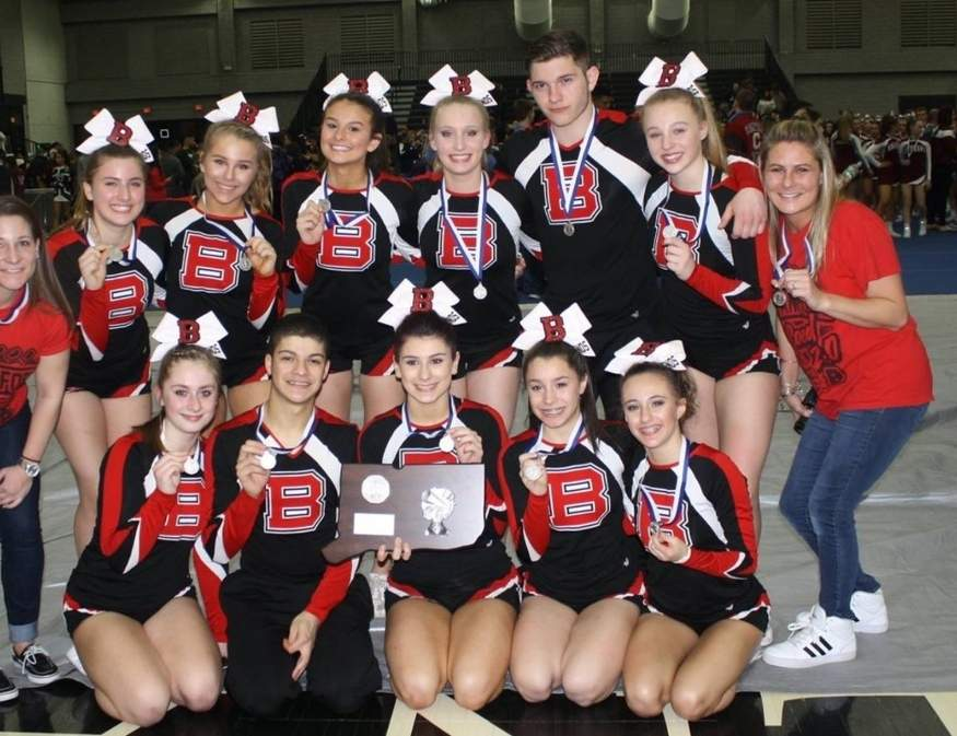 After earning the second-place trophy at the Co-ed State Championship, the Branford cheerleading team capped off a great campaign by participating in the New England Regional Championship that was held in Providence last weekend. Photo courtesy of Melissa Mansi