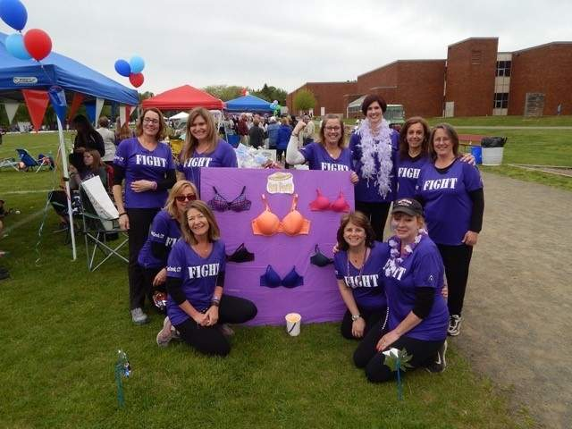 Having fun while raising serious money to help American Cancer Society, returning team Creekers for a Cure, led by Susan Greenvall (left front, kneeling) is currently the top fundraising team signed up for Relay for Life of the Shoreline 2017, coming to Branford's Walsh Intermediate School on Saturday, May 13. Photo courtesy of Susan Greenvall