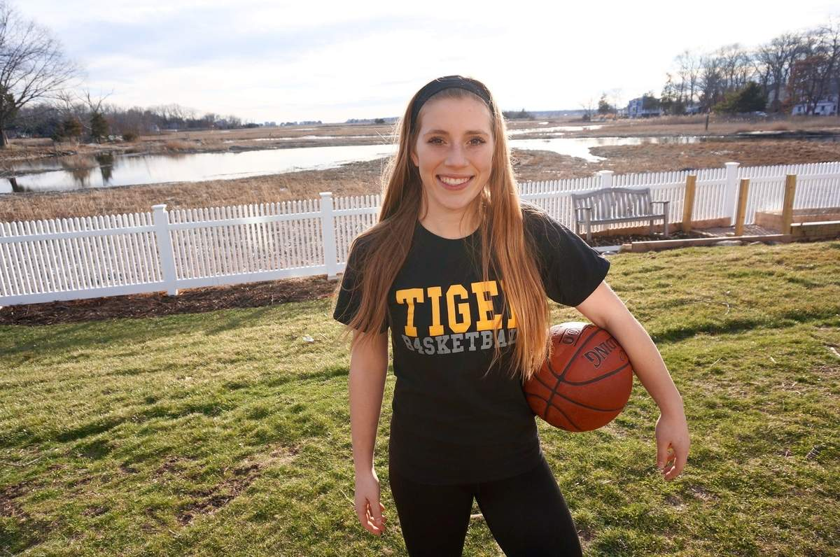 Gabby Egidio earned All-SCC honors First Team honors as a junior guard for the Hand girls' basketball team this winter. Gabby also helped the Tigers claim a state crown with her 12-point performance in the Class L final. Photo courtesy of Gabby Egidio