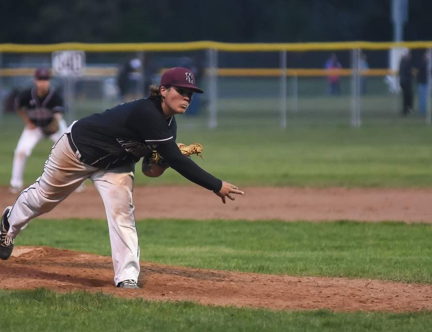 Brendan Clark is one of the key members of an experienced pitching staff that expects to be a strong point for the North Haven baseball team this spring. Clark, a senior captain, will also patrol the hot corner at third base for the Indians. Photo by Kelley Fryer/The Courier