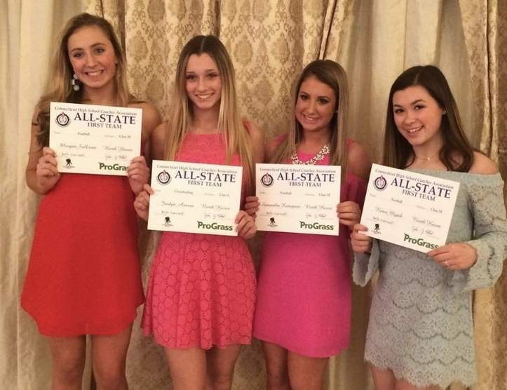 North Haven's Class L All-State cheerleaders from the recent winter season: Morgan Sullivan, Jordyn Aurora, Samantha Konspore, and Renee Myjak. Photo courtesy of Kathleen Crisafi