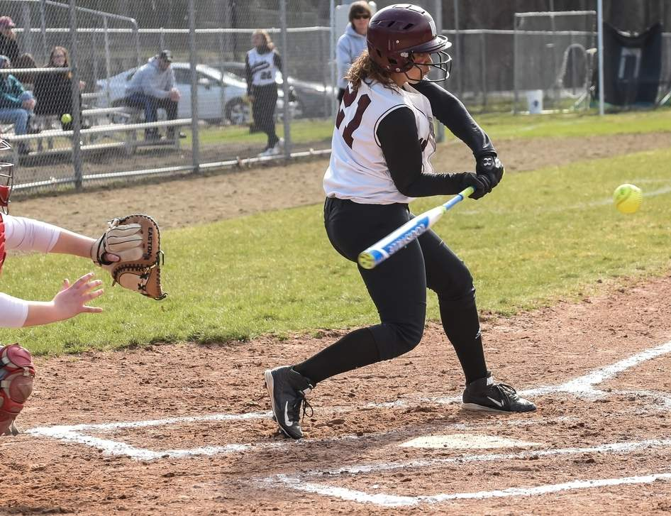 Senior Laurissa Amaker will be called upon to play some first base and right field for the North Haven softball team this spring. Amaker hit a clutch two-run single when the Indians took a 4-3, eight-inning loss to Amity in their season opener. Photo by Kelley Fryer/The Courier