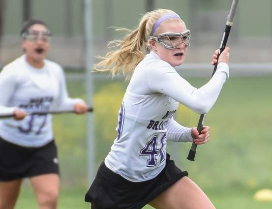 Tara Lauro and the North Branford girls' lacrosse squad claimed victory in their first two contest of the spring season by beating Valley Regional and Old Saybrook last week. Photo by Kelley Fryer/The Sound