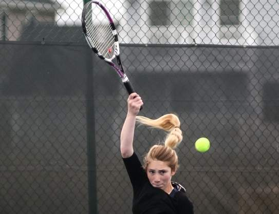 Senior captain Devyn Gargano is off to a great start for the East Haven girls' tennis team this season. Gargano has won both of her matches at No. 1 singles to lead the Yellowjackets to an early 2-0 record. Photo by Kelley Fryer/The Courier